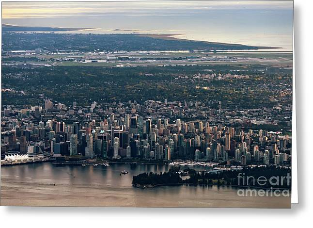 View Of Vancouver From Above Greeting Card