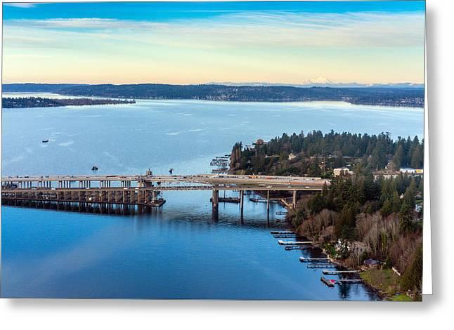 520 Bridge And Mount Baker Greeting Card by Mike Reid