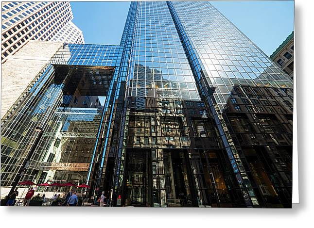 53 State Street Boston Ma Exchange Place Sun Reflection Greeting Card