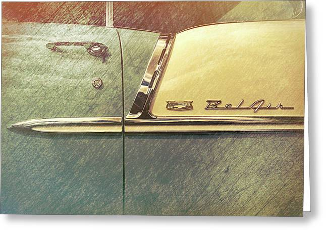 55 Bel Air Door Emblem Greeting Card by Mike Burgquist