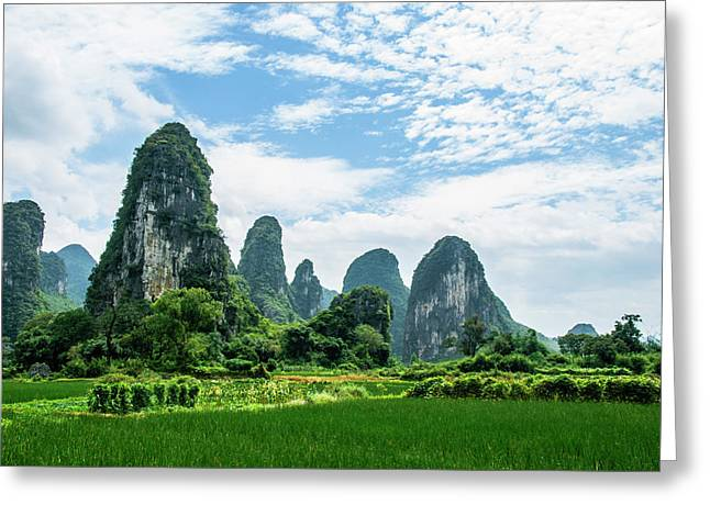 Greeting Card featuring the photograph Karst Mountains And  Rural Scenery by Carl Ning