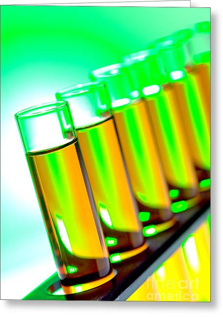 Test Tubes In Science Research Lab Greeting Card by Olivier Le Queinec