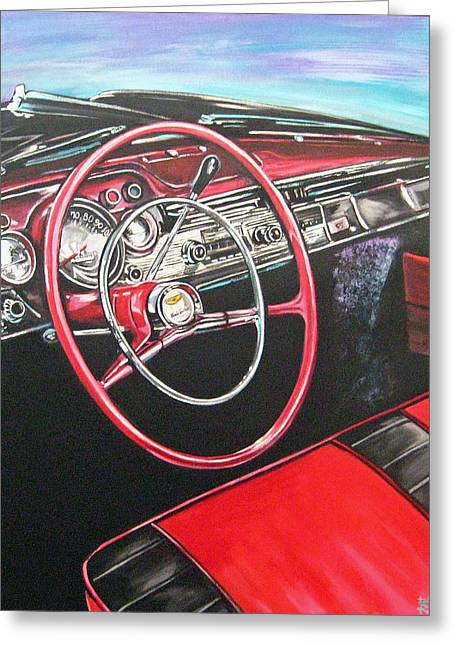 Steering Paintings Greeting Cards - 57 Chevy Greeting Card by Diann Baggett