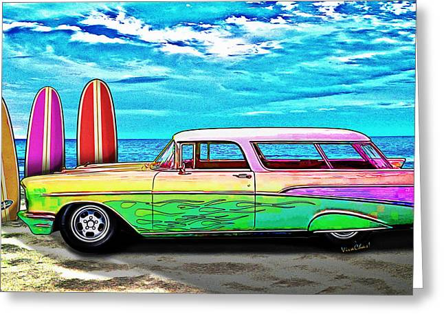 57 Chevy Nomad Wagon Best Part Of Waking Up Greeting Card