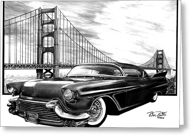 Charcoal Car Greeting Cards - 57 Fat Cad Greeting Card by Peter Piatt
