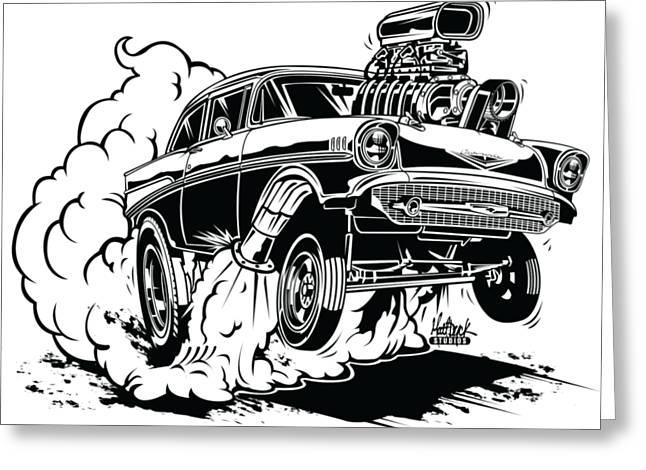 '57 Gasser Cartoon Greeting Card