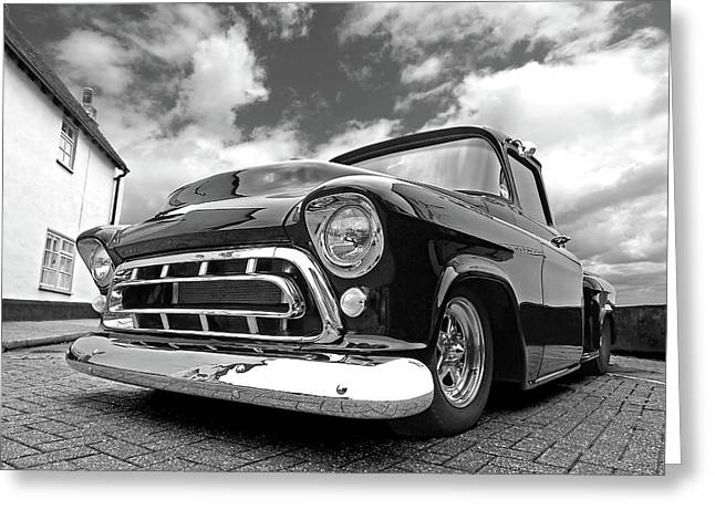 57 Stepside Chevy In Black And White Greeting Card
