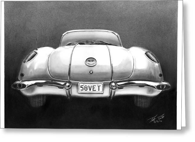 Charcoal Car Greeting Cards - 58Vet Greeting Card by Peter Piatt