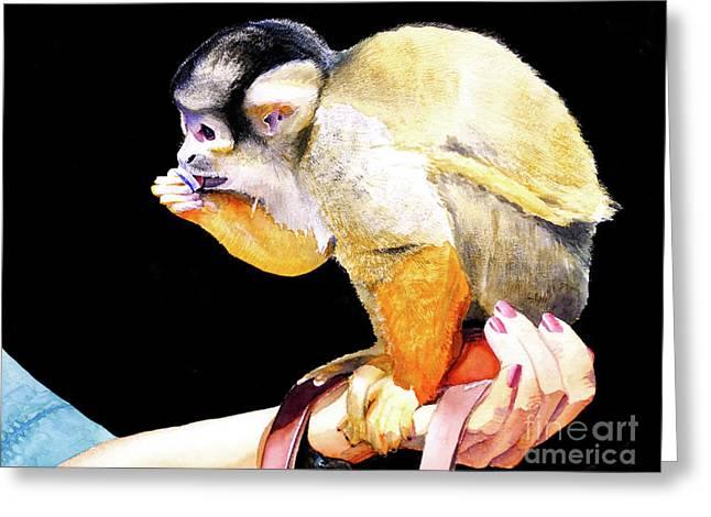 #59 Squirrel Monkey 2 Greeting Card by William Lum