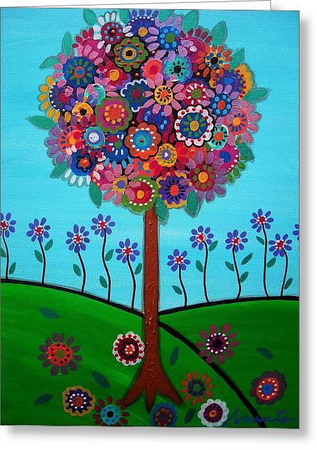 Tree Of Life Greeting Card by Pristine Cartera Turkus