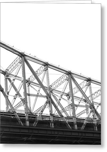 59th Street Bridge, Black And White Greeting Card by Sandy Taylor
