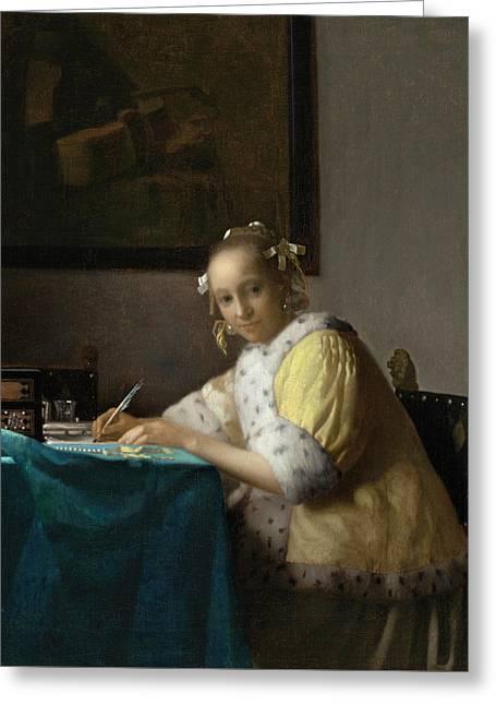A Lady Writing Greeting Card