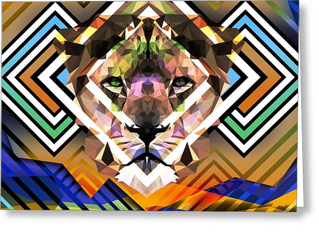 Abstract Lion Greeting Card