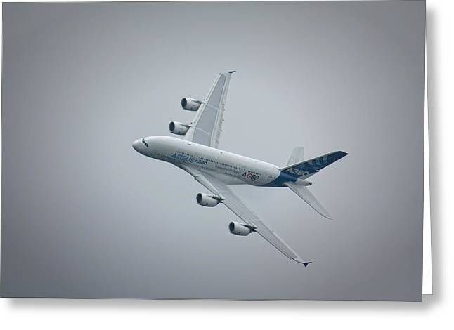 Airbus A380 Greeting Card by Shirley Mitchell