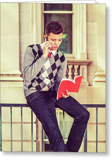 American College Student Studying In New York Greeting Card