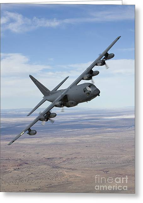 An Mc-130 Aircraft Manuevers Greeting Card by HIGH-G Productions