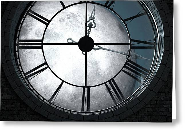 Antique Backlit Clock And Moon Greeting Card by Allan Swart