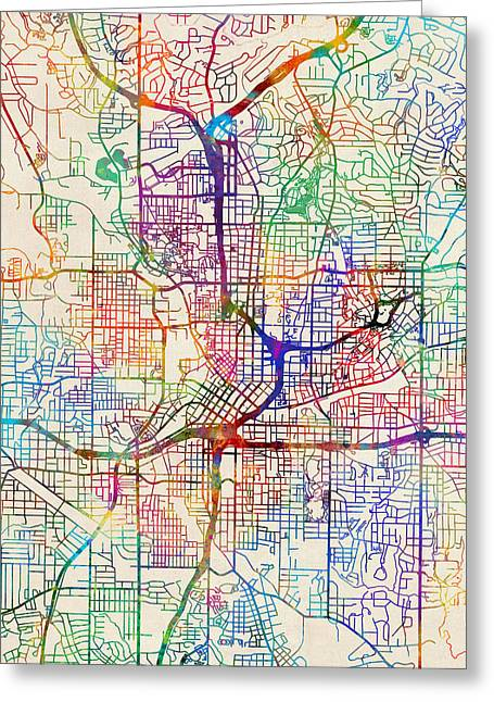 Atlanta Georgia City Map Greeting Card by Michael Tompsett