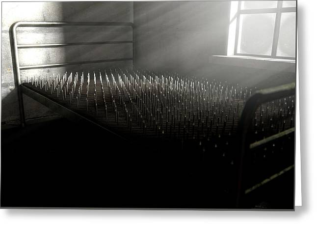 Bed Of Nails In A Room Greeting Card