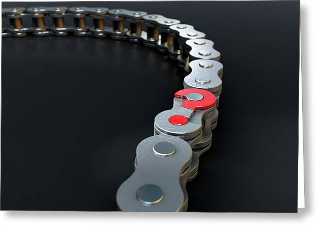 Bicycle Chain Missing Link Greeting Card by Allan Swart