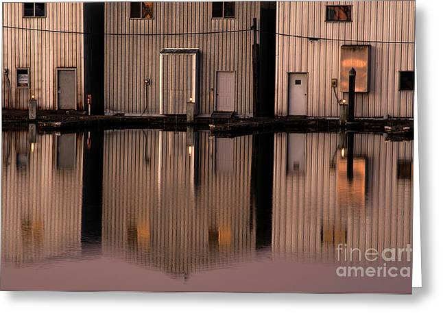 Boathouse Reflections  Greeting Card by Jim Corwin