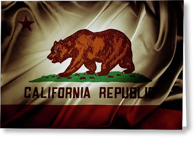California Flag Greeting Card by Les Cunliffe