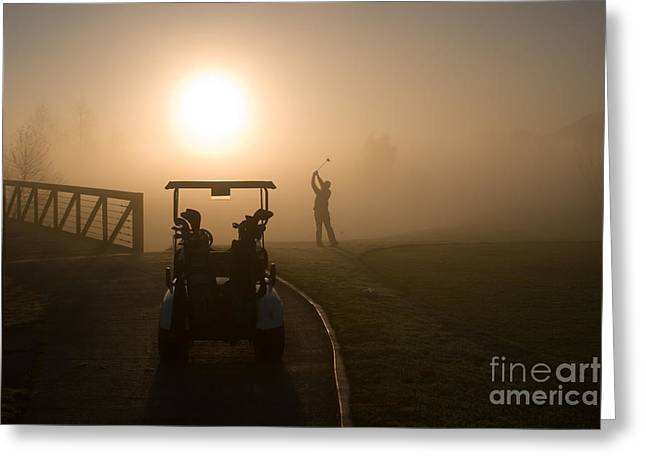 California Golf Course Sunrise Morning Golfers Greeting Card by ELITE IMAGE photography By Chad McDermott