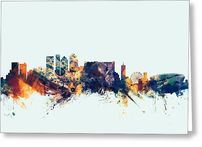 Cape Town South Africa Skyline Greeting Card by Michael Tompsett