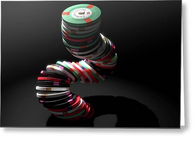Casino Chips Greeting Card by Allan Swart
