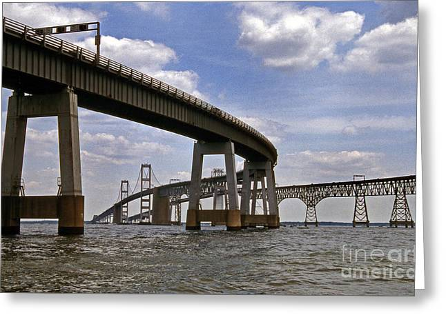 Chesapeake Bay Bridge Greeting Card by Skip Willits