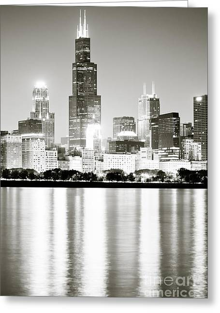 Dark Water Greeting Cards - Chicago Skyline at Night Greeting Card by Paul Velgos