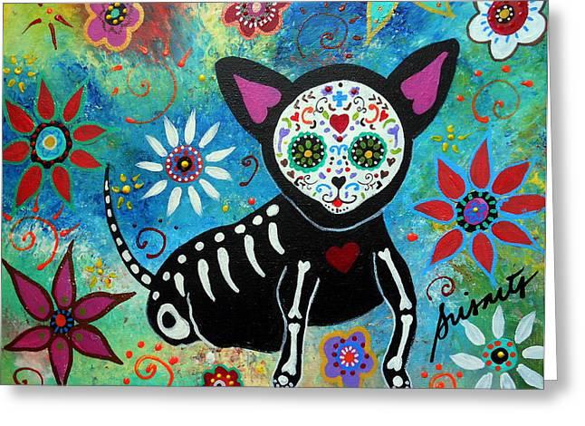Chihuahua Dia De Los Muertos Greeting Card by Pristine Cartera Turkus