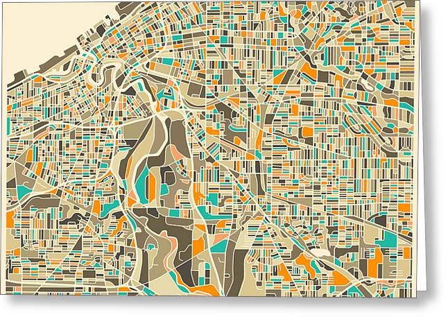 Cleveland Map Greeting Card by Jazzberry Blue