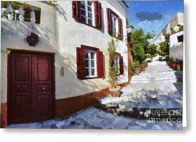 Colorful House In Plaka Greeting Card