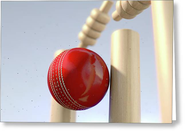 Cricket Ball Hitting Wickets Greeting Card by Allan Swart