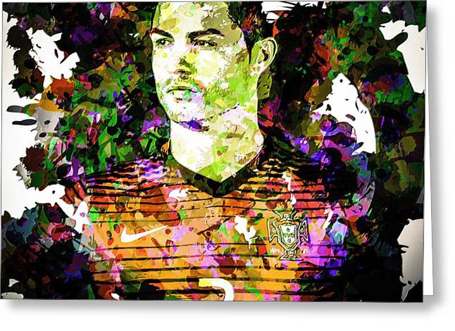 Cristiano Ronaldo Greeting Card by Svelby Art