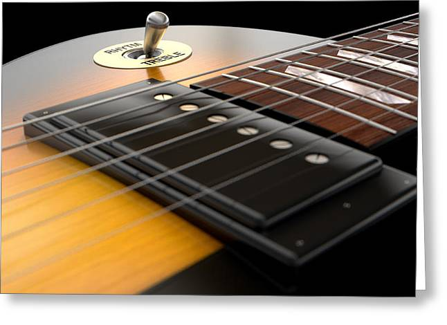 Electric Guitar Abstract Greeting Card by Allan Swart