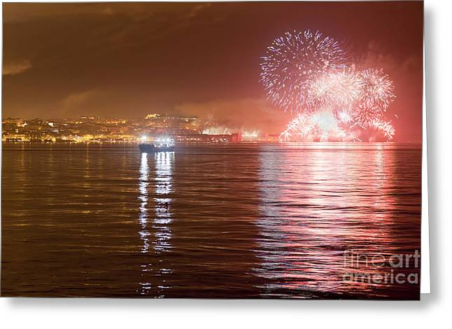 Fireworks At New Year's Eve In Lisbon Greeting Card by Andre Goncalves