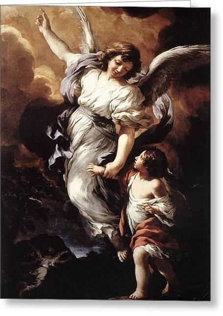 Guardian Angel Greeting Card by Pietro da Cortona