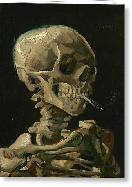 Head Of A Skeleton With A Burning Cigarette Greeting Card