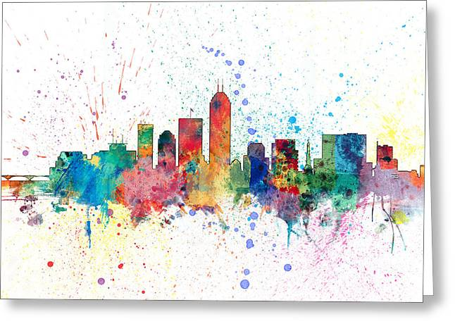 Indianapolis Indiana Skyline Greeting Card by Michael Tompsett