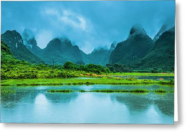 Karst Rural Scenery In Raining Greeting Card