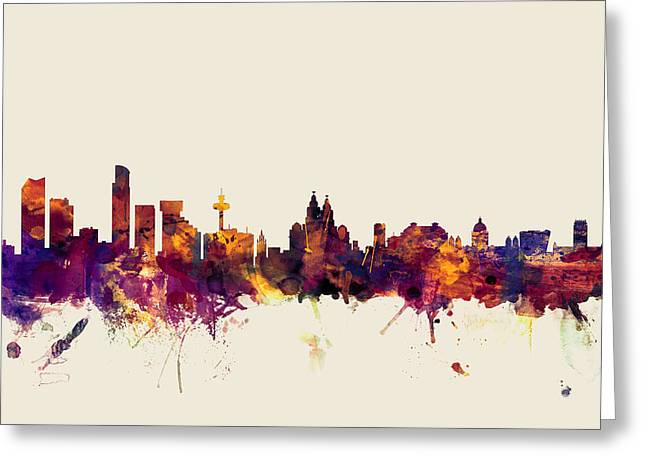 Liverpool England Skyline Greeting Card by Michael Tompsett
