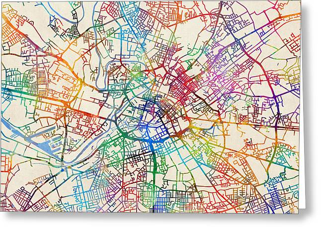 Manchester England Street Map Greeting Card by Michael Tompsett
