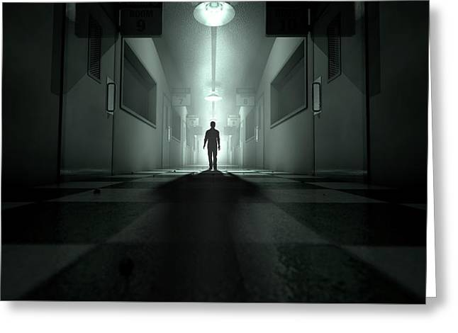 Mental Asylum With Ghostly Figure Greeting Card by Allan Swart