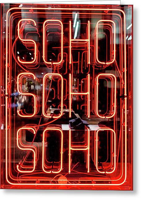 Neon Soho Sign Greeting Card