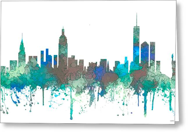 Greeting Card featuring the digital art New York Ny Skyline by Marlene Watson