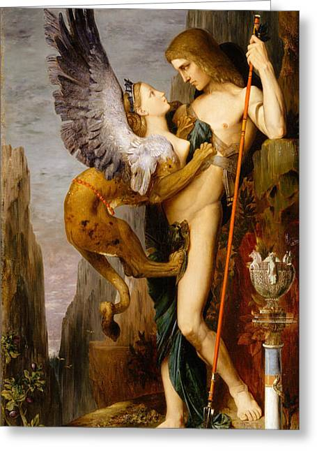 Oedipus And The Sphinx Greeting Card by Gustave Moreau