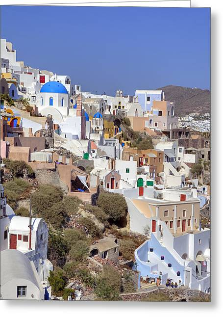 Aegean Sea Greeting Cards - Oia - Santorini Greeting Card by Joana Kruse