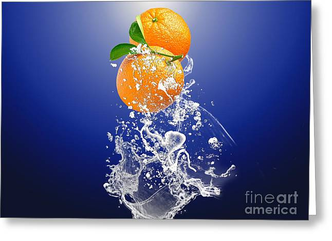 Greeting Card featuring the mixed media Orange Splash by Marvin Blaine